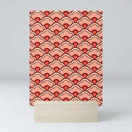 Deco Chinese Scallops, Peach, Rust and Cream Mini Art Print