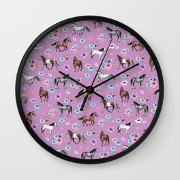 Purple Horse and Flower Print, Hand Drawn, Horse Illustration, Little Girls Decor Wall Clock