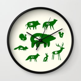 Nature Trail in Forest Green and Cream Wall Clock