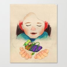 winter boy and fairy Canvas Print