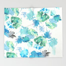 Tropical leaves, (collab Dylan Silva!) Throw Blanket