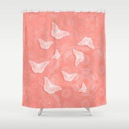 A flutter of butterflies on peach mandala patterns Shower Curtain