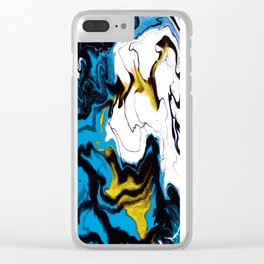 Dreamscape 01 in Blue, White & Gold Clear iPhone Case