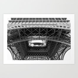 The Eiffeltower iron construction in black and white Art Print