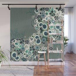 Diagonal flower – blue and green fiber Wall Mural