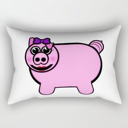 Girly Stuffed Pig Rectangular Pillow
