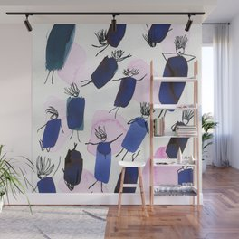 Free falling of the girls in the bright blue garments Wall Mural