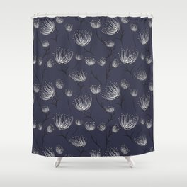 White Cassiopea in Navy Shower Curtain