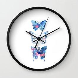 Butterflies Three Blue Clothes Women Wall Clock