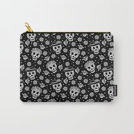 Black and White Day of the Dead Sugar Skulls Carry-All Pouch