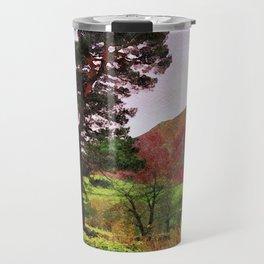 Pine and dry stone wall at Grasmere, Lake District, England Travel Mug