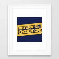lebron Framed Art Prints featuring Return of the Chosen One by JohnLucke