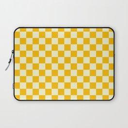 Cream Yellow and Amber Orange Checkerboard Laptop Sleeve