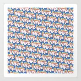 INFP Trendy Rainbow Text Pattern (Blue) Art Print