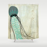 jelly fish Shower Curtains featuring Jelly Fish  by Greenwell Art