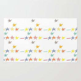Multicolored doodle little falling stars and dashes on white pattern Rug