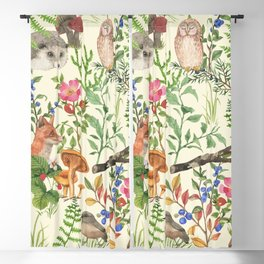 Hand drawn seamless pattern with watercolor forest animals and plants. Pattern for kids, wood inhabitants, cute animals Blackout Curtain