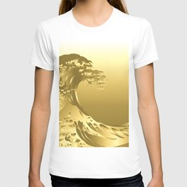 Gold Hokusai Great Wave T-shirt