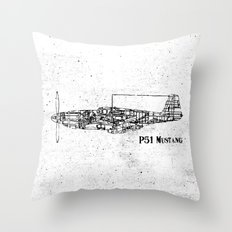 North American P51 Mustang (black) Throw Pillow