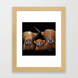 Scottish Hairy Highland Cows ' WE 3 COOS ' by Shirley MacArthur Framed Art Print