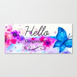 Hello Gorgeous Sign, Hello Gorgeous Wall Art, Bedroom Wall Decor Canvas Print