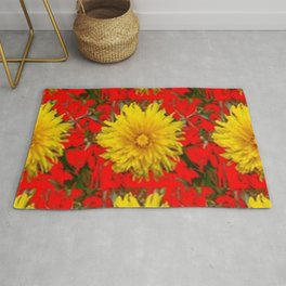 YELLOW DANDELION BLOSSOMS ON RED ORGANIC ART Rug