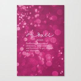Moxie Definition   Pink Bokeh Canvas Print