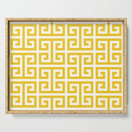 Large Gold and White Greek Key Pattern Serving Tray