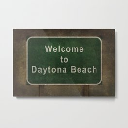 Welcome to Daytona Beach roadside sign illustration Metal Print