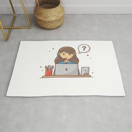 Happy customer service with laptop and stationary Rug