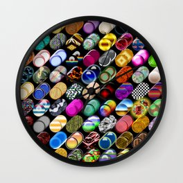 Cylinder shapes with random colors Wall Clock