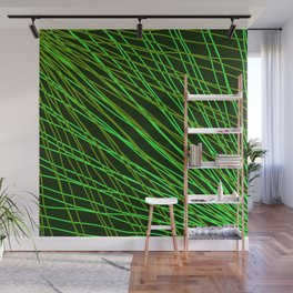 Rays of green light with intersecting light waves on black. Wall Mural