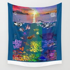 ...and the monstrous creatures of whales [full] Wall Tapestry