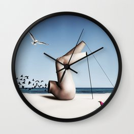 Birds on a beach interacting with a disjointed body Wall Clock