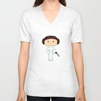 leia V-neck T-shirts featuring Leia by Sombras Blancas Art & Design