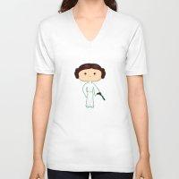 princess leia V-neck T-shirts featuring Leia by Sombras Blancas Art & Design