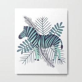 Modern Zebra Mint  Metal Print