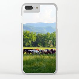 Smokey Mountain Horses Clear iPhone Case