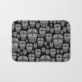 Black And White Sugar Skull Pattern Bath Mat