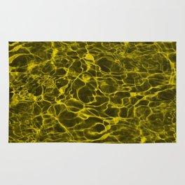 Highlighter Neon Yellow Underwater Wavy Rippling Water Rug