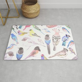 Birds of America- pets and wild birds in stained glass Rug