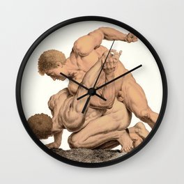 Nude Wrestlers Wall Clock