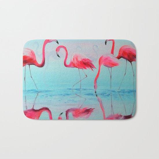 Flamingo at sunset Bath Mat