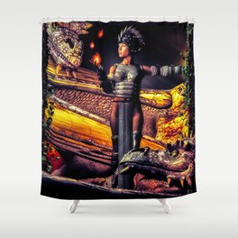 A Girl and Her Dragons Shower Curtain