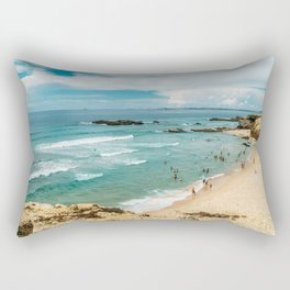 People Having Fun On Beach, Algarve Lagos Portugal, Tourists In Summer Vacation, Wall Art Poster Rectangular Pillow