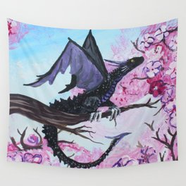 Baby Black Dragon in Cherry Tree Wall Tapestry