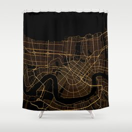 Black And Gold New Orleans Map Shower Curtain