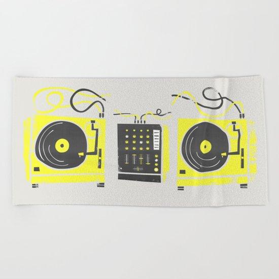DJ Vinyl Decks Beach Towel