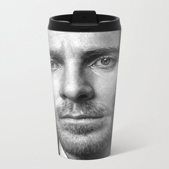 Michael Fassbender - Portrait Metal Travel Mug