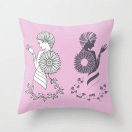 Ladies' Pink Elegance siluette Throw Pillow